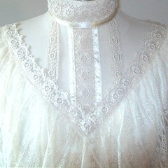 Gunne Sax Victorian Style Ivory Lace & Ribbon Ruffled Gown Bodice Front (mondas66) Tags: ruffles ribbons lace victorian cotton romantic ribbon gown elegant gowns ornate lacy frilly elegance ruffle gunnesax frills frill ruffled lacework frilled ribboned frilling frillings befrilled