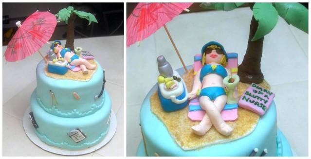 inside joke - nurse on beach cake