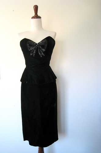 Gunne Sax Trompe L'oeil Bow Black Velvet Dress, Vintage 80's