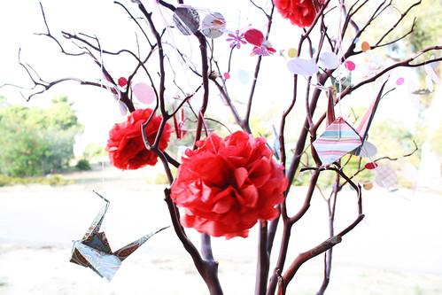 Paper Cranes & Mini Pom Poms