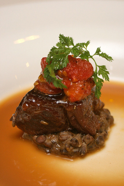 Lamb Shoulder - lavender glazed lamb shoulder on lentil cassoulet scented with smoked bacon and oven dried cherry tomatoes