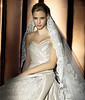 Luxury silk and embroidered strapless wedding dress