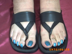 azul metal (100) (sandalman444) Tags: male men feet sandals painted polish pedicure toerings longtoenails