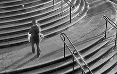 pgmc074 (the underlord) Tags: street woman sunlight liverpool 50mm steps stjohns rail down d76 handrail developed om1 olympusom1 selfdeveloped kodakd76 lucky100 zuiko5018 7minutesat11