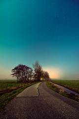 Night Sky (andy.wolf) Tags: road trees sky netherlands field fog night stars nightscape farm alkmaar lightpollution uwa urbanlights d700 egmondaandenhoef 1424mmf28g
