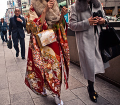 Ginza  Lipstick Jungle (adde adesokan) Tags: street travel woman man color colour face fashion japan standing pen bag fur photography tokyo ginza shoes candid coat rich streetphotography style olympus ring suit  nippon  lipstick nihon tokio streetphotographer m43 mft mirrorless microfourthirds theblackstar mirrorlesscamera streettogs
