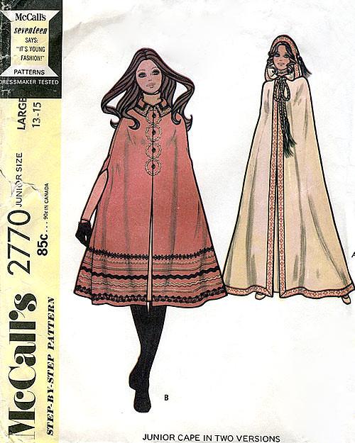 Vintage 1970s Cape Pattern
