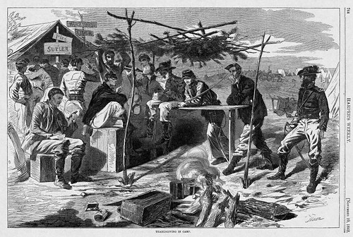 "Harper's Weekly, 11/29/1862, Winslow Homer, ""Thanksgiving in Camp"""