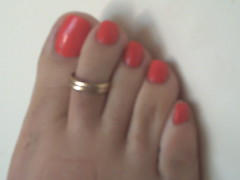 orange (sandalman444) Tags: male feet foot toes long sandals painted ring mens pedicure toenails toerings toenaik