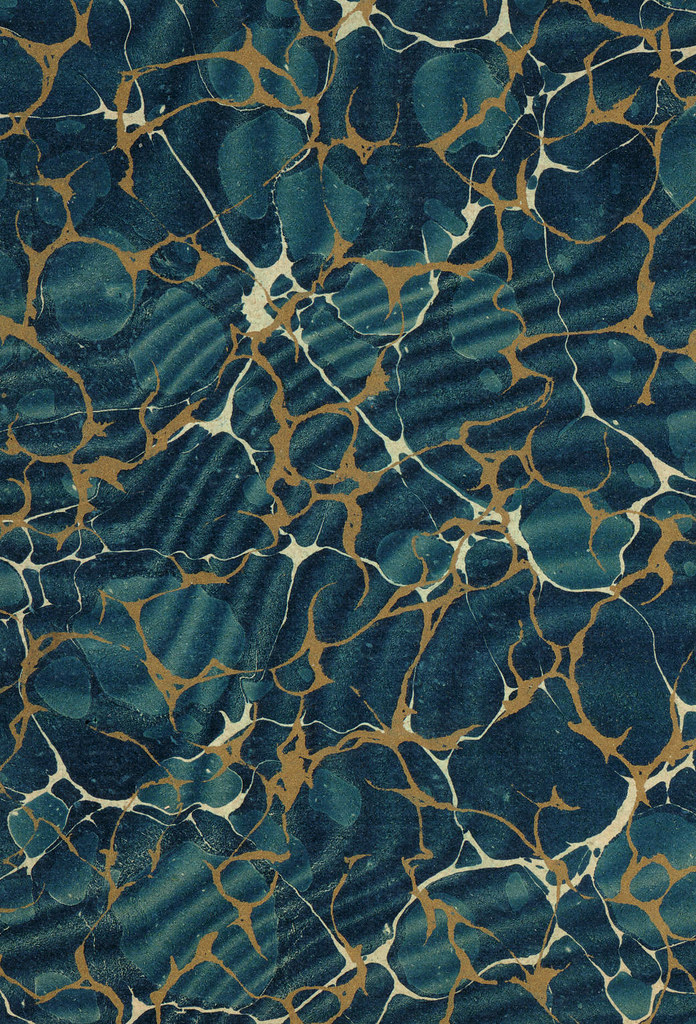 Vintage 19th c. marbled paper, Gold vein Overprinted over Spanish moiré on Turkish pattern (23)