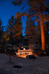 Camping Out (Daniel Regner) Tags: road park lighting trip blue camping autumn trees friends light summer camp vacation arizona sky west pine night dark bench lens stars fun fire daylight cool mixed woods nikon midwest warm long exposure skies quiet south awesome united grand x tent canyon system september campfire crisp national bark ten bond moonlight late states tungsten nikkor needles streaks rim campground 18200 bonding 18200mm d90