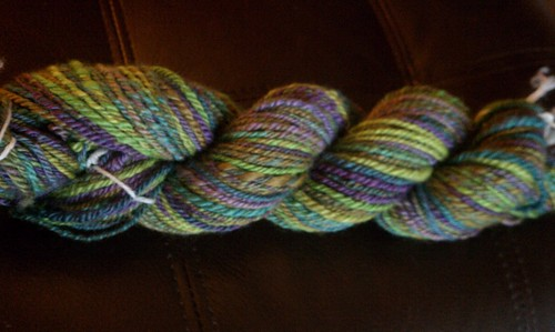 156 yards of navajo plied Gale's Art BFL in Grape Vine
