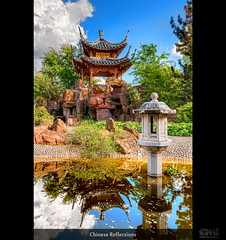 Chinese Reflections (HDR) (farbspiel) Tags: sea lake water sunshine clouds photoshop reflections germany logo photography see pond nikon asia stuttgart tripod chinese sigma wideangle bluesky blended pavilion lantern chinesegarden 1020mm teich dri hdr highdynamicrange watermark hdri blend superwideangle niceweather 10mm postprocessing tümpel dynamicrangeincrease ultrawideangle d90 photomatix digitalblending wasserzeichen tonemapped tonemapping watermarking detailenhancer topazadjust topazdenoise klausherrmann topazsoftware sigma1020mmf35exdchsm topazphotoshopbundle