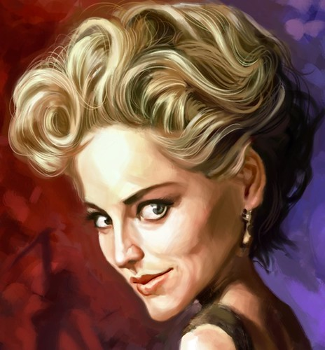 digital caricature of Sharon Stone - 4