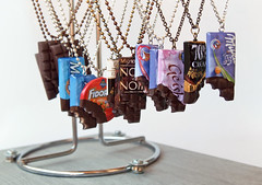 Chocolate Factory (weggart) Tags: miniature necklace chocolate polymerclay fimo geisha earrings milka pendant lindt cotedor weggart