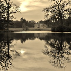 Still waters (K. J. Reilly) Tags: trees lake reflection home water sepia canon eos still calm mansion stately 1100d