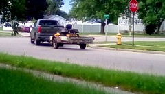 Pickup truck with lawn mower on trailer! - HTT (Maenette1) Tags: pickup truck trailer lawnmower neighborhood menominee uppermichigan happytruckthursday flicker365