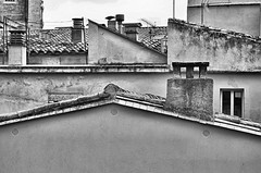 Lines & Angles (CJS*64) Tags: girona spain travel roof rooftops lines angles cjs64 craigsunter cjs nikon nikkorlens nikkor nikond7000 dslr d7000 24mm85mmlens blackwhite bw blackandwhite whiteblack whiteandblack mono monochrome