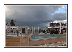 Cold Start to the Cruise (Audrey A Jackson) Tags: canon60d southampton uk cruise cruiseship queenelizabeth swimmingpool people photographer camera vacation explorer