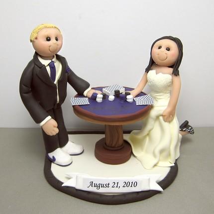 Poker wedding cake topper