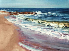 #38 Beach Day (anntnem) Tags: seascape canvas oil 100paintings