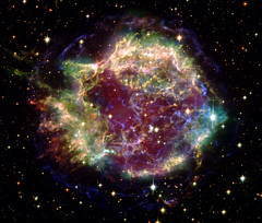 Cas-A-X-ray-VIS-and-IR-Combo-FINAL (MikeMalaska) Tags: ir nebula xray visible chandra hubble spitzer the4elements supernovaremnant cassiopieaa
