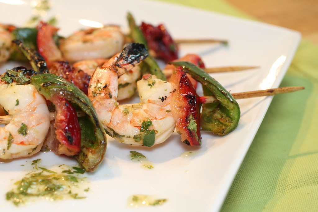 4842428489 a355d0d944 b d BBQ shrimp skewers with peppers and plums