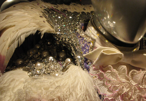 Violet Costume with Ostrich Feathers - closeup
