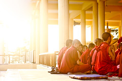 Monks at sunset (Scott Norsworthy) Tags: sunset red india temple robe monks complex himachal dharamsala pradesh ganj mcleod