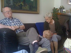 Great-grandparents in Mortsel (futurestreet) Tags: vacation belgium charlie grandparents mortsel iphonephoto