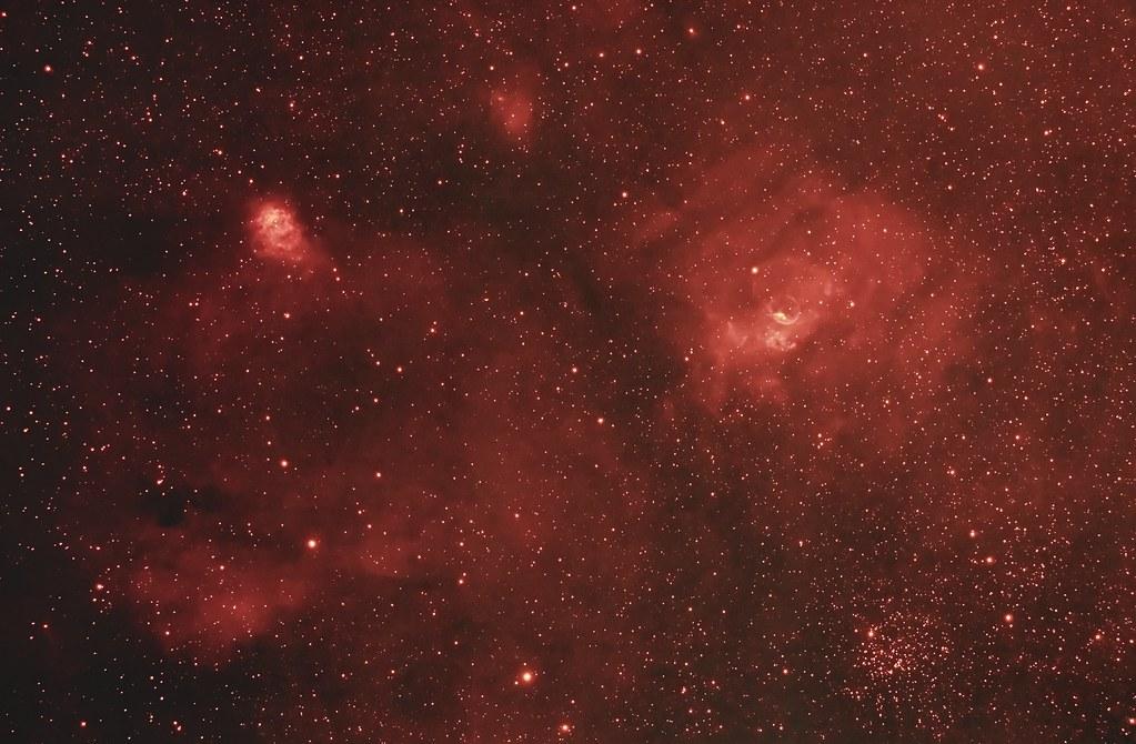 Bubble Nebula, M52 and NGC 7538 (Ha)