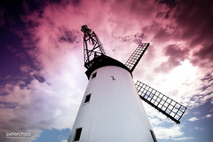 Hot windmill (PeterChad) Tags: uk light red sky cloud sun building mill windmill fire wind grain working dramatic anger lancashire lytham formation explore round lythamstannes annes roundness fylde welcomeuk