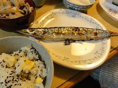 秋刀魚、栗ご飯、とん汁
