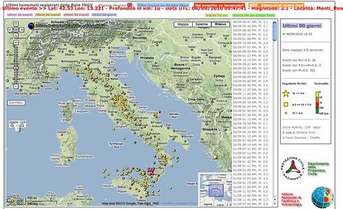 La mappa dei terremoti dal sito INGV