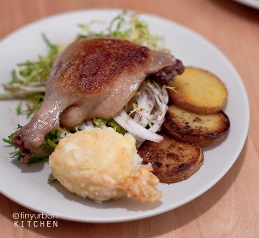 Confit duck leg frisee salad