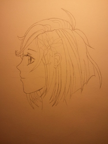 Manga Girl Profile - Step 3 - Final Pencil (HB)