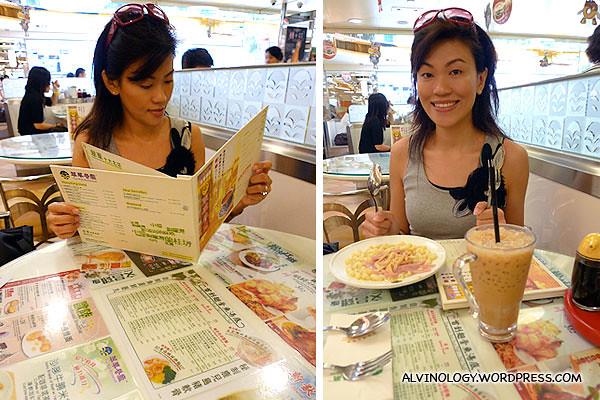 Rachel ordering, and then enjoying her breakfast
