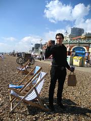 Metrosexual man on the beach
