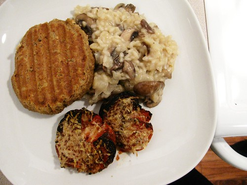 Mushroom risotto, tofu patty and roasted tomatoes