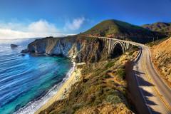 Bixby Bridge from Above - Highway 1, Big Sur, CA (Daniel Peckham) Tags: ocean california road ca bridge beach water fog coast sand day bigsur photoblog highway1 coastline hdr hwy1 bixby bixbybridge windyroad cacoast thebestofhdr
