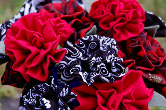 Fabric strip flowers