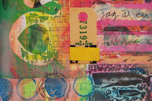 Art Journal detail: yellow tag