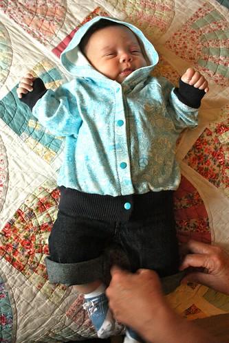 Blue Doodle Baby Hoodie (worn by Baby Z, 12 wks)