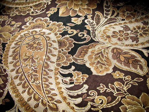258/365: Golden Paisley Fabric