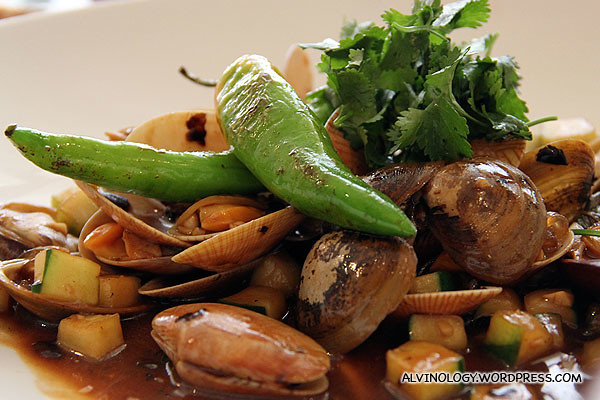 Clams served with chilli and vegetable