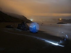 Lightpainting on a beach near the Golden Gate Bridge