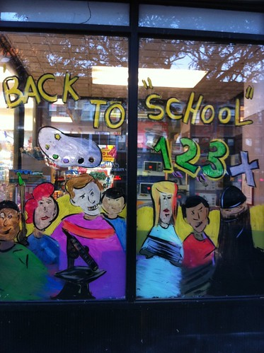 multi-cultural back-to-school sign on Brooklyn grocery store