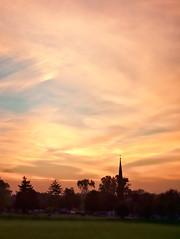264/365: Red sky at morning, sailors take warning. (pixelmama) Tags: sunrise september 2010 churchsteeple project365 chasinglight redskyatmorningsailorstakewarning 3652010 pixelmama