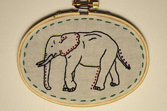 little elephant friend (ktburrr) Tags: elephant thread hoop embroidery needle embroider