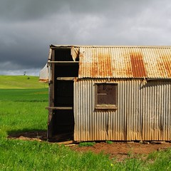 Old Shed | Kanmantoo (Daniel Tindale) Tags: road old morning red orange storm detail green heritage history texture abandoned window field grass rain clouds rural square landscape tin grey drive countryside spring highway rust iron driving pentax earth decay farm ripple daniel south country sunday farming rustic shed australian ruin australia farmland hwy hills soil dirt adelaide sa roadside princes pastoral southaustralia derelict wrinkle cloudscape decayed paddock galvanised sundaydrive adelaidehills sundaydriving callington galvo kanmantoo tindale k20d danieltindale dawesley